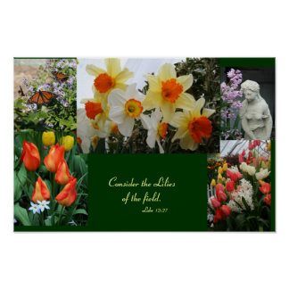 "Flowers ""Consider  the lilies of the field"" poster"
