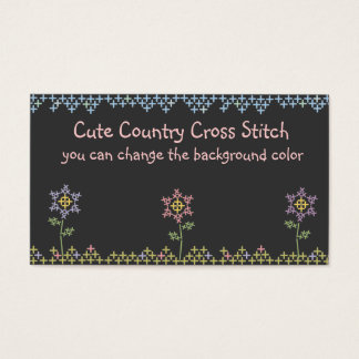 Flowers cross stitch crafts business cards