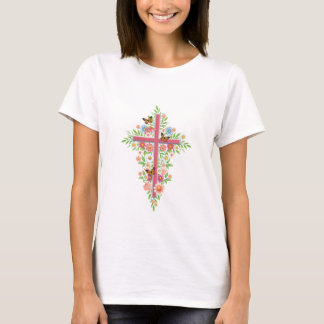Flowers & Cross T-Shirt