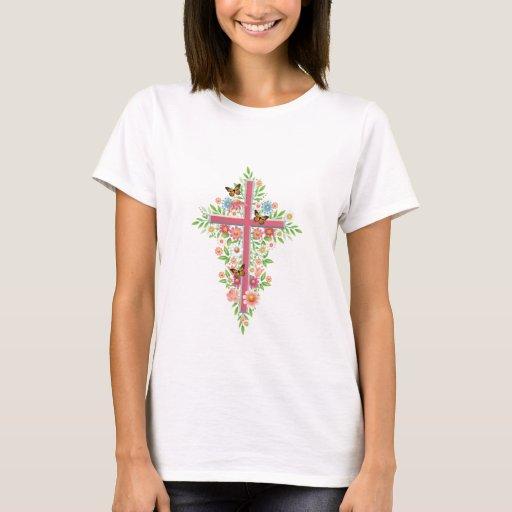 Flowers & Cross T-Shirt