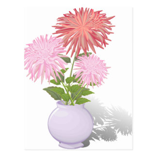 Flowers Dahlias in a vase Postcard