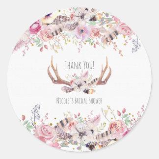 Flowers & Deer Antlers Rustic Wedding Favor Classic Round Sticker