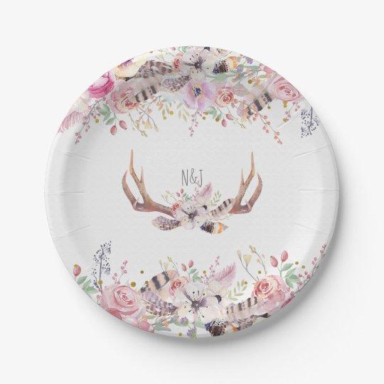 Flowers & Deer Antlers Rustic Wedding Party Event Paper Plate ...