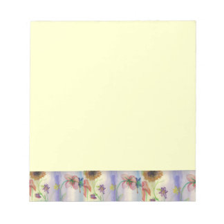 Flowers Design Cream Notepad