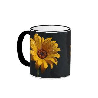 flowers dew rain ringer ceramic mug