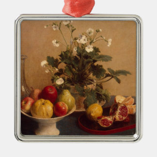 Flowers, dish with fruit and carafe, 1865 metal ornament