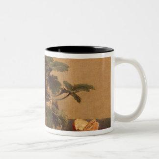 Flowers, dish with fruit and carafe, 1865 coffee mug