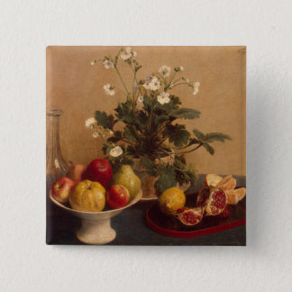 Flowers, dish with fruit and carafe, 1865 pinback button