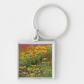 Flowers Display at International Peace Gardens Silver-Colored Square Keychain