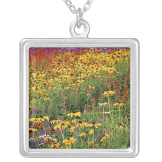 Flowers Display at International Peace Gardens Square Pendant Necklace