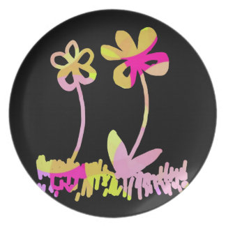 Flowers Doodles on Black Plate