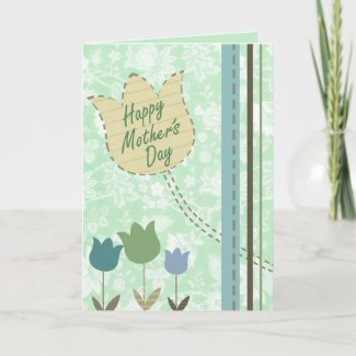 Flowers, Dots and Stripes card