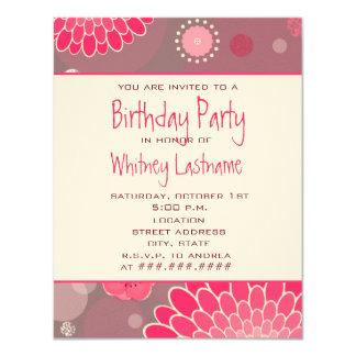 "Flowers & Dots Birthday Party Invite 4.25"" X 5.5"" Invitation Card"