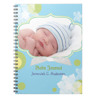 Flowers & Dots New Baby Boy Baby Photo Journal Notebook