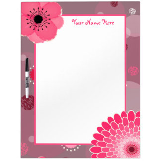 Flowers & Dots Personalized Dry Erase Board