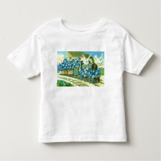 Flowers, doves and train toddler t-shirt