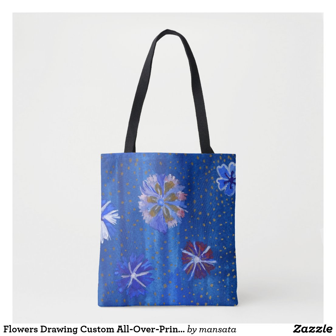 Flowers Drawing Custom All-Over-Print Tote Bag