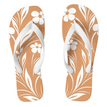 Beach Themed Flowers Edge | CHOOSE YOUR BACKGROUND COLOR Flip Flops