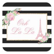 Flowers & Eiffel Tower Birthday Party Square Sticker