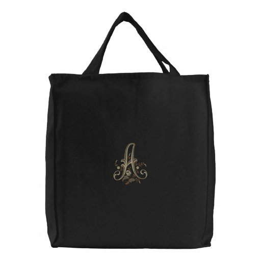 Flowers Embroidered Monogram A Tote Bag