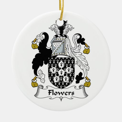 Flowers Family Crest Double-Sided Ceramic Round Christmas Ornament