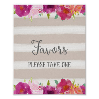 Flowers Favors Wedding Poster Print