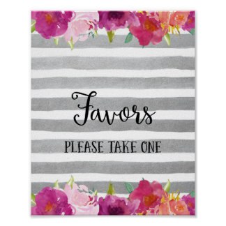 Flowers Favors Wedding Poster Print