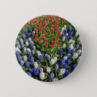Flowers field with red blue tulips and hyacinths pinback button