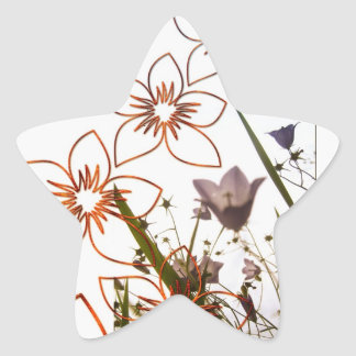 Flowers Floating and Grass Star Sticker