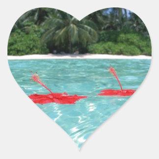 Flowers Floating in Water - Great Gift Idea Heart Sticker