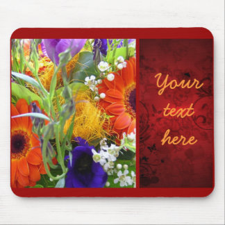 Flowers floral bouquet bunch red elegant beautiful mouse pad