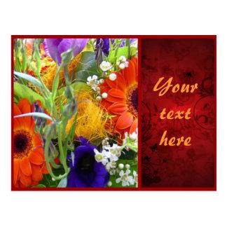 Flowers floral bouquet bunch red elegant beautiful postcard