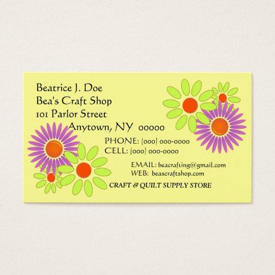 "Flowers Floral ""CRAZY-DAZY"" CRAFT BUSINESS CARD"