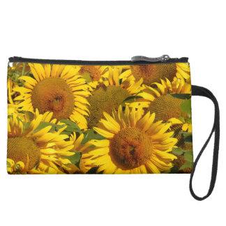 Flowers Floral Garden Blossoms Suede Wristlet Wallet