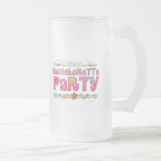flowers floral hippie bachelorette party bridal frosted glass beer mug