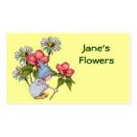 Flowers, Floral Shop: Cute Gnome Girl, Daisies Double-Sided Standard Business Cards (Pack Of 100)