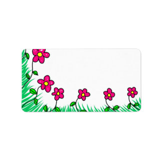 Flowers Floral Vines Blooming Colorful Letter Note Label