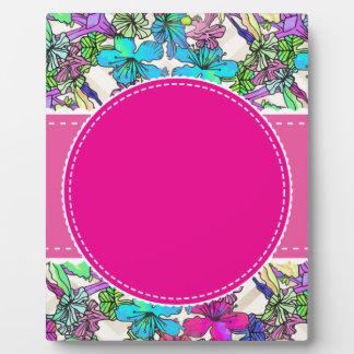 flowers floral vines colorful chic elegant bridal plaque