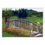 Flowers & Footbridge on Ladybug Lane Blank Card