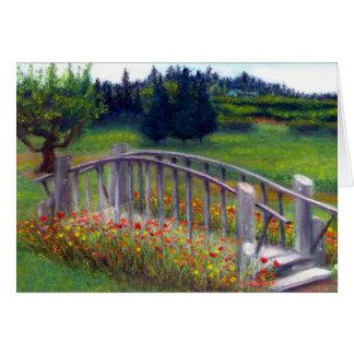 Flowers Footbridge on Ladybug Lane Blank Card