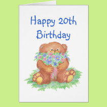Flowers for 20th Birthday, Teddy Bear Card