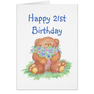 Flowers for 21st Birthday, Teddy Bear Greeting Card