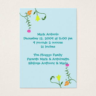 Flowers For Baby Birth Announcement Cards