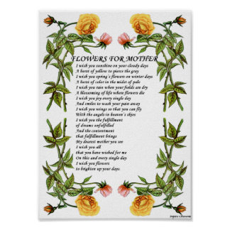 Flowers for Mother Gift_Vintage Poetry Art Poster