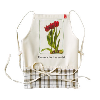 """Flowers for the Cook"" Tall Red Tulips Photography Zazzle HEART Apron"