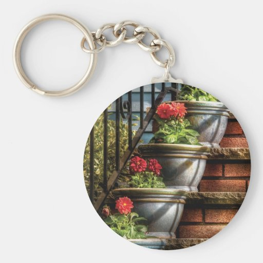 Flowers - Four Pots Basic Round Button Keychain