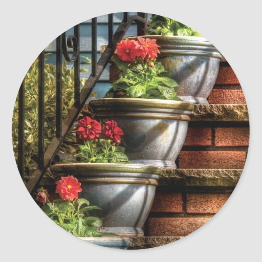 Flowers - Four Pots Classic Round Sticker