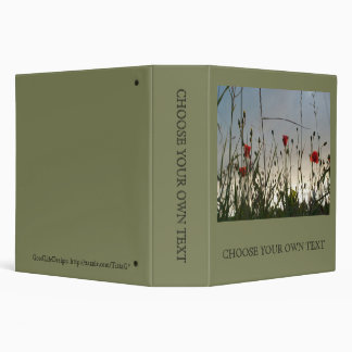 Flowers - Four Red Poppies 3 Ring Binder