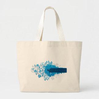 Flowers_frame-blue Bolsa Tela Grande