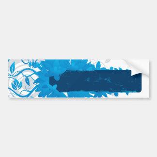 Flowers_frame-blue Etiqueta De Parachoque